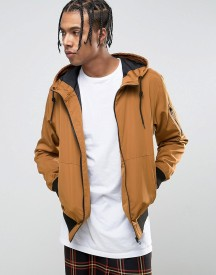 Bershka Hooded Bomber Jacket In Tan afbeelding