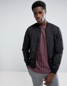 Bershka Lightweight Bomber In Black afbeelding