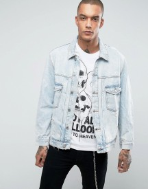 Bershka Oversized Denim Jacket In Light Blue afbeelding