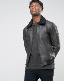 Bl7ck Leather Look Jacket With Faux Fur Collar afbeelding