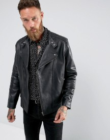 Black Dust Bubbla Clean Leather Biker In Black afbeelding