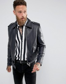 Black Dust L.a Classic Leather Jacket In Navy afbeelding