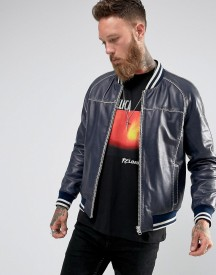 Black Dust Navy Leather Bomber With Contrast Stitching afbeelding