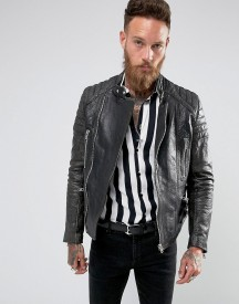 Black Dust Stardust Leather Biker Jacket With Quilted Sleeves afbeelding