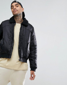 Black Kaviar Bomber Jacket In Black With Borg Collar afbeelding