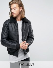 Black Phoenix Faux Leather Bomber Quilted Removable Borg Collar In Black afbeelding