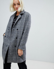 Blend She Sanna Check Wool Blend Tailored Coat afbeelding