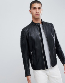 Boss Jaysee Slim Fit Leather Biker Jacket In Black afbeelding