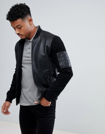 Boss Leather And Suede Jacket In Black afbeelding