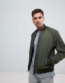 Boss Nylon Bomber Jacket In Khaki afbeelding