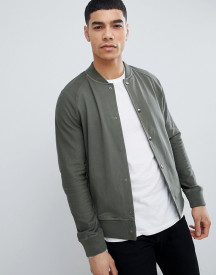 Boss Sweat Bomber Jacket In Khaki afbeelding