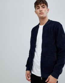 Boss Zigler Relaxed Fit Fleece Bomber Jacket In Navy afbeelding