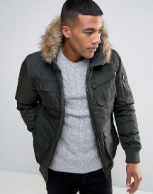 Brave Soul Short Parka With Faux Fur Hood afbeelding