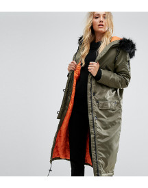 Brave Soul Tall Full Moon Maxi Parka Coat afbeelding