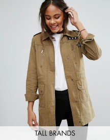 Brave Soul Tall Military Jacket With Patches afbeelding