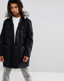Brooklyns Own Heavyweight Parka In Black With Faux Fur Hood afbeelding