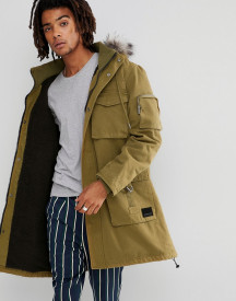 Brooklyns Own Heavyweight Parka In Green With Faux Fur Hood afbeelding