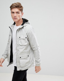 Burton Menswear Multi Pocket Rain Jacket In Grey afbeelding