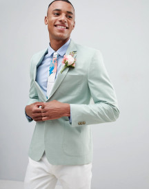 Burton Menswear Regular Fit Cotton Blazer In Mint Green afbeelding