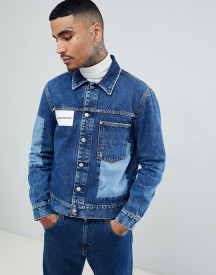 Calvin Klein Jeans Denim Jacket With Logo And Cut And Sew afbeelding
