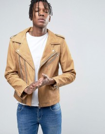 Casual Friday Biker Jacket In Tan Leather afbeelding