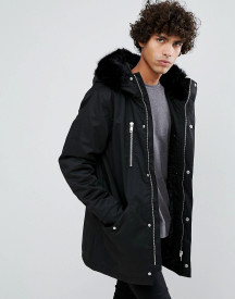 Clean Cut Copenhagen Premium Removable Faux Fur Hood Parka Jacket afbeelding