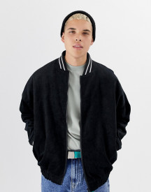 Collusion Oversized Cord Bomber Jacket In Black afbeelding