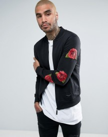 Criminal Damage Jersey Bomber Jacket In Black With Rose Sleeve Print afbeelding