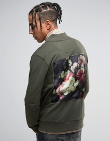Criminal Damage Jersey Bomber Jacket In Khaki With Floral Back Print afbeelding