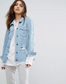 Daisy Street Denim Trucker Jacket With Distressing And Raw Hem afbeelding