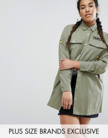 Daisy Street Plus Military Embroidered Shacket afbeelding