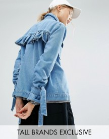 Daisy Street Tall Denim Jacket With Bow Tie Sleeve And Back Detail afbeelding