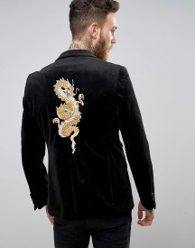 Devils Advocate Skinny Fit Black Velvet Blazer With Dragon Embroidery afbeelding