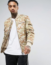 Dxpe Chef Bomber Jacket In Camo With Military Patches afbeelding