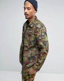 Dxpe Chef Coach Jacket In Camo With Military Patches afbeelding