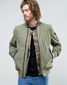 Element Flight Ma1 Bomber Jacket Camo Quilt Detatchable Liner In Green afbeelding