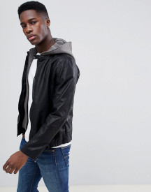 Esprit Faux Leather Jacket With Removable Jersey Hood afbeelding