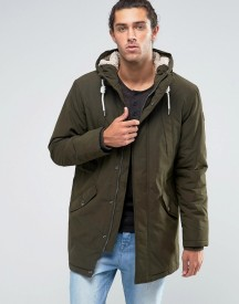 Esprit Fish Tail Parka With Teddy Hood Lining In Khaki afbeelding