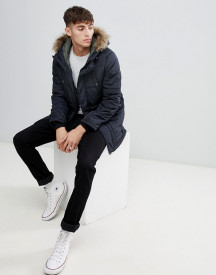 Esprit Parka With Faux Fur Hood In Black afbeelding