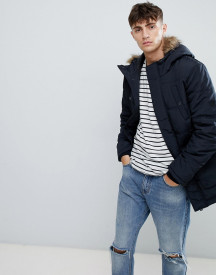 Esprit Parka With Faux Fur Hood In Navy afbeelding