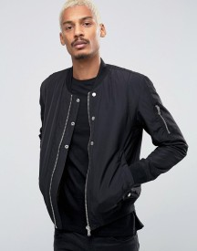 Esprit Quilted Nylon Bomber Jacket In Black afbeelding
