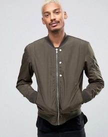 Esprit Quilted Nylon Bomber Jacket In Khaki afbeelding