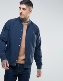 Farah Bellinger Zip Through Nylon Bomber In Navy afbeelding