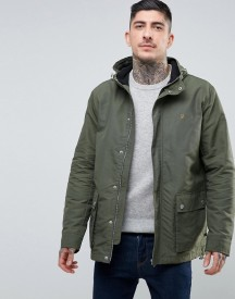 Farah Lonsbury Patch Parka Hooded Jacket In Green afbeelding