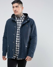 Farah Lonsbury Patch Parka Hooded Jacket In Navy afbeelding