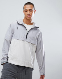 For Windbreaker With Half Zip And Hood In Grey afbeelding