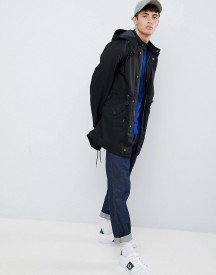 Fred Perry Hooded Fishtail Parka Jacket In Black afbeelding