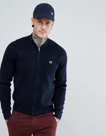 Fred Perry Knitted Bomber Jacket In Navy afbeelding