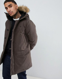Fred Perry Padded Down Snorkel Parka Jacket With Faux Fur Trim In Dark Green afbeelding
