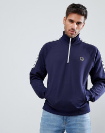 Fred Perry Sports Authentic Taped Half Zip Jacket In Navy afbeelding